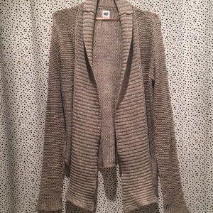 NSF S open crochet knit cardigan sweater cotton